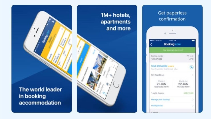 Free Travel Apps Booking.com App, book cheap hotels with free cancellation.