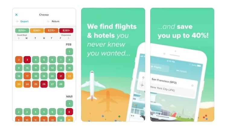 Free Travel Apps Hopper finds flights and hotels and uses historical data to let you know the best times to book.