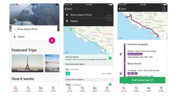 Free Travel Apps rome 2 rio to find the best choices to get from one place to another